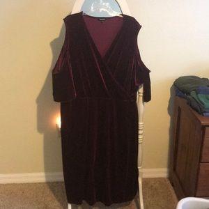 ASOS curve velvet cold shoulder dress